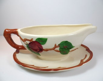 Vintage Franciscan Apple Gravy Boat with Attached Underplate - Gravy Boat - Franciscan Apple Gravy Boat - Franciscan - Franciscan Apple