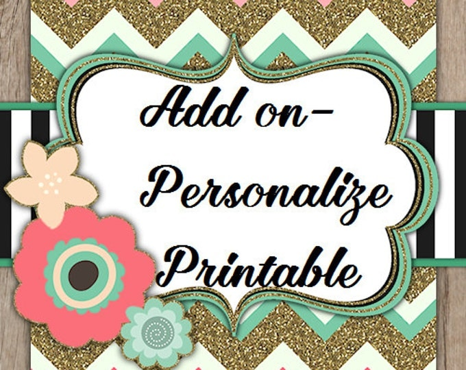 Add on - Personalize Printable