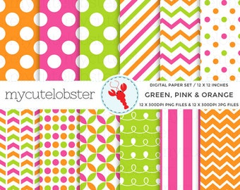 Green, Pink, Orange Digital Paper Set - assorted paper pack - personal use, small commercial use, instant download