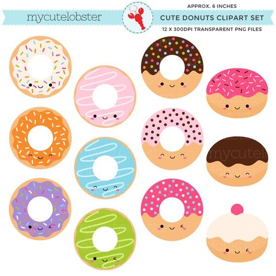 Cute Donuts Clipart Set clip art set of kawaii donuts cute