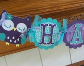 Owl Birthday Banner, Owl Purple and Teal Birthday Banner, Owl Birthday Decorations, Matching Tissue Pom Poms are Available
