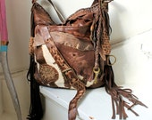 Unique large pirate style leather bag hobo brown asymmetrical strap bohemian boho festival tribal high fashion purse sweet smoke free people