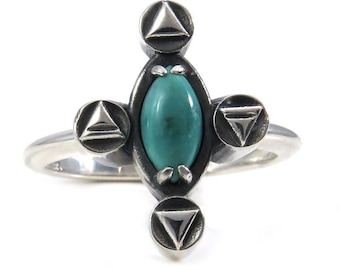Turquoise Alchemy Element Symbol Ring - Sterling Silver - Earth Air Fire Water