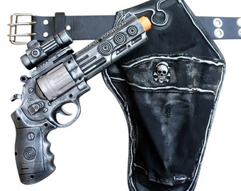 Steampunk cyber gothic toy gun-holster-belt pistol  gun laser LIGHT Victorian cosplay prop theatre SILVER tone Wholesale price
