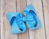 Large blue hairbow, girls hair bows, girls hairbows, jumbo hair bows, boutique style, twisted boutique bow