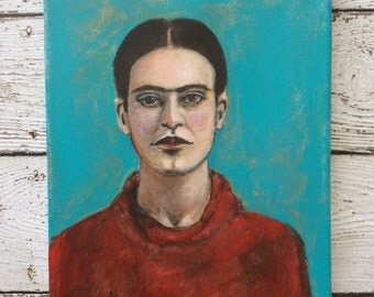 Original Acrylic Frida Portrait 8 x 10 on Canvas