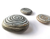 Blotting Ripples - Home Study Library Ornaments Pebbles Paperweights Spirals