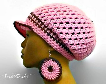 MADE TO ORDER Pink and earth tones Slouch Hat/ Slouchy Beanie/ Tam with free matching crochet earrings