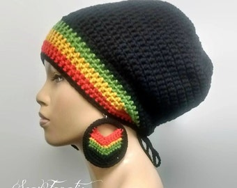 MADE TO ORDER Black Slouch Hat/ dreadlock hat with Rasta Stripes Red Gold Green and drawstring /free matching crochet earrings