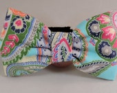 Dog Flower or Bow Tie - Light Blue Paisley