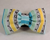 Dog Flower, Dog Bow Tie, Cat Flower, Cat Bow Tie -  Turquoise Stripes