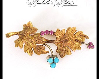 18K Gold Pin with Rubies and Turquoise / December Birthstone / Brooch with Branch & Leaves / Lapel Pin 5.9 Grams / Italy 750 Estate Jewelry