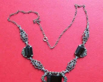 On Sale Sterling Silver Black Onyx Art Deco Necklace Marcasite Antique Jewelry Circa 1930