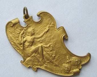 On Sale Antique Lady Victory In A Laurel Tree Art Nouveau Drama Medal Pendant Signed Fisch Co Dated 1926  SS66