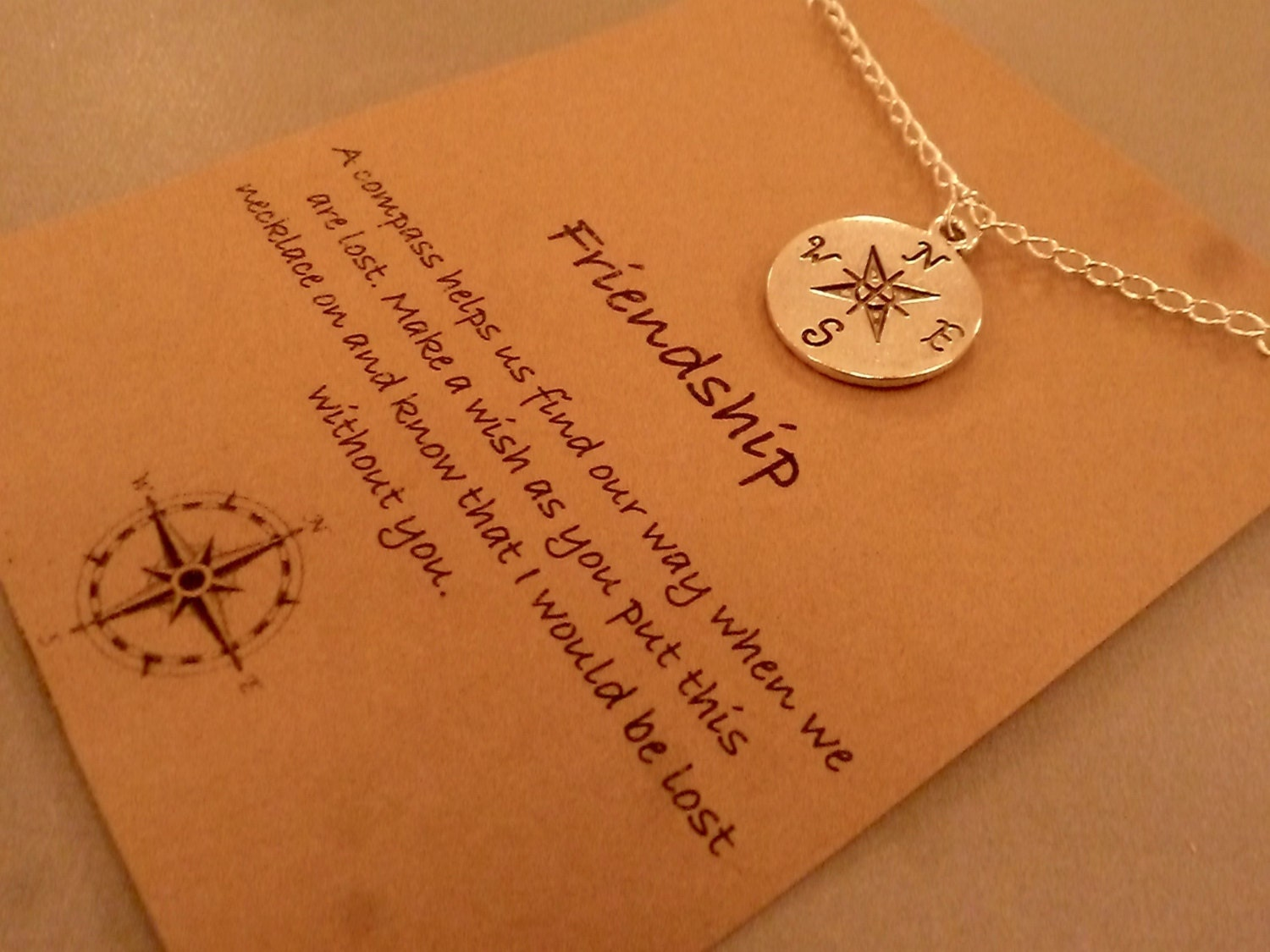 compass charm necklace silver tone friendship compass