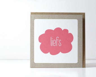 Liefs, (Dutch) greeting card, cloud greeting card, with envelope.