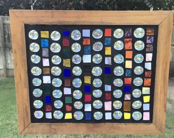 Contemporary Stained Glass Mosaic Panel - Abstract Glass Nuggets (PLG056)