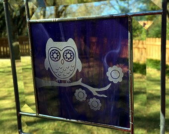 Contemporary Stained Glass Panel - Sandblasted Owl Blue (PLG039)