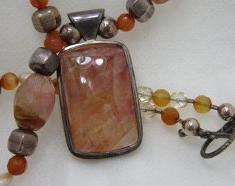 Handmade Apricot Agate Choker Necklace