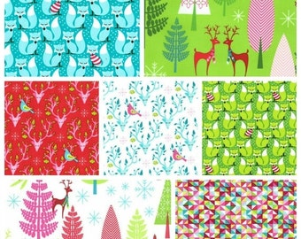 Christmas Bundle, Fat Quarter Half Yard and Yards Michael Miller Fabrics, Deer Woodland Holidays Red Green Pink Aqua Blue, Fox Bucks Trees
