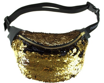BOUDICCA gold and black sequin bum bag fanny pack. Burning man, festivals, nights out
