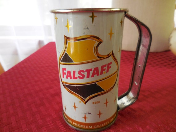 Vintage 1950s to 1960s Metal Falstaff Beer Can/Cup/Mug With