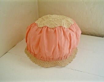 1920s Bed Cap Pink Silk and Lace Vintage Boudoir Hat or Bob Hat