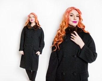 Vintage 1950s Coat - Black Wool Double Breasted Mink Fur Trim 50s - Large / Medium