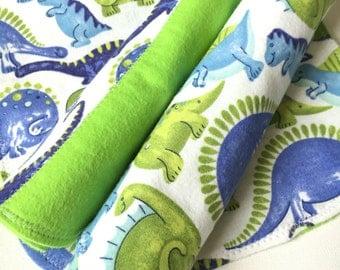 Dinosaur Baby Burp Cloths, Baby Gift Set, Flannel, Burp Rag, Set of Dinosaur Burpcloths