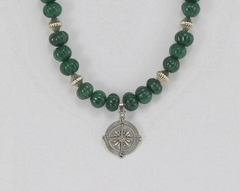 Beaded Necklace with Compass Pendant.  Gemstone Necklace.  Green Jewelry