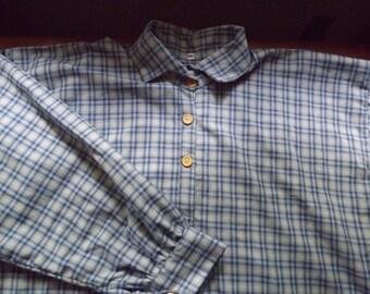 Mens 2XL Civil War Blue Plaid Homespun Cotton Issue Shirt in stock