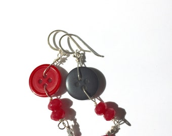 Red Black Button Earrings, Ruby, Silver Earrings, silver Jewelry, Gifts for her, Lilyb444