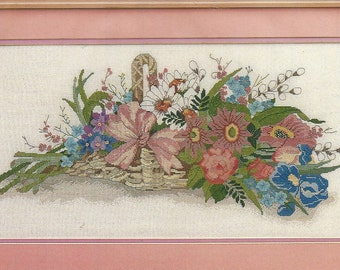 "80s French Floral Basket Unopened Counted Cross Stitch Kit Candamar Designs Complete Kit 20"" x 10"" Stitch Size Birthday Gift for Her"