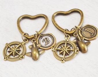 airplane keychain, compass key ring, best friend keychain, friendship, pilot gift, aviation, bridesmaid gift, graduation, airplane jewelry