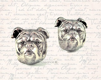 Cufflinks Neo Victorian English Bulldog Head Antique Silver Cuff Links Vintage Inspired and Silver Plated Backs