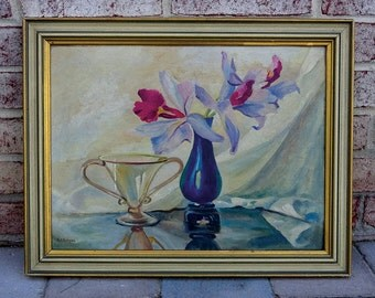 Vintage Original 1940's Still Life Oil Painting on board Signed by Artist A.T. Koegel
