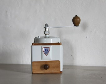French Vintage Peugeot Coffee  Grinder, Coffee Mill,  Pale Gray Enamel 1940s Burr Grinder Fully Restored