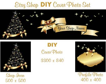 Etsy Shop Banner New Size Cover Photo Set DIY Add Your Shop Name Beautiful Gold Christmas Tree Instant Download