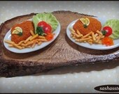 Schnitzel and fries, miniature dollhouse meal 12th scale food made from polymer clay