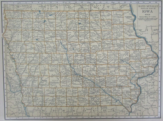 Vintage 1926 iowa map premium tan aqua ia by for Craft stores in sioux city iowa