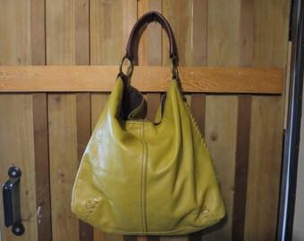 Lucky Brand Hobo Bag - Vintage Lucky Brand Mustard Leather Slouchy Hobo Purse