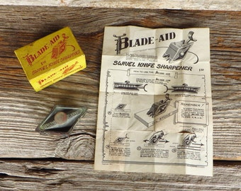 Blade Aid Swivel Knife Sharpener 1950s Tool Original Box Original Instructions Mid Century Industrial Leather Tool