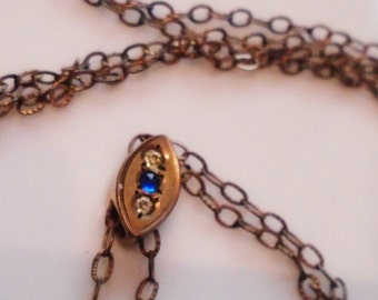 Victorian Watch Chain Slide Paste Gems Gold Fill Engraved Links 1880 Marked