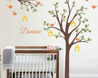 Wall decals, Bird, Bird Houses, Tree, Custom Name - Nursery Kids Removable Personalized Wall Decal and Wall decor