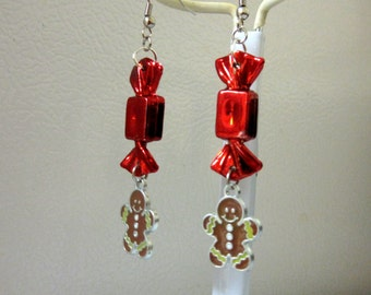 Gingerbread Man Earrings Holiday Red Candy Christmas Jewelry