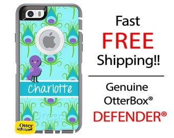 OTTERBOX Defender iPhone 6 5 5S 5C 4/4S iPod Touch 5G Case Feathers Peacock Bird Aqua Purple Name Initials Personalized Monogram ID