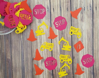Construction Dump Truck Excavator Digger Stop Sign Safety Cone Confetti Boys Birthday Party Decor Dirt Bike Party Scrapbooking