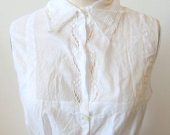 Pretty Edwardian Sleeveless Cotton Blouse