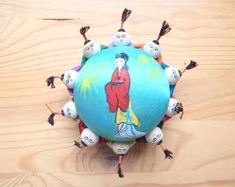 Vintage Chinese Pin Cushion - Bright Silk; tiny figures