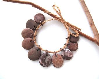Beach Stone Beads Natural Stone Charms Top Drilled Mediterranean Diy Jewelry Rock Beads Stone Pairs Brown Copper SMALL MOCCA MIX